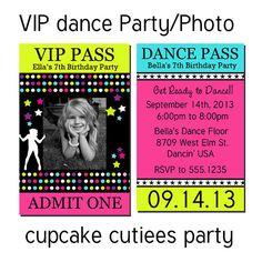 Dance Party - PHOTO  VIP lanyard Badge Custom Invites Digital Invitations  Printable - U Print Girls