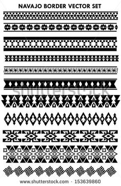 Embroidery Alphabets Bracelets Navajo border vector set black and white - Native American Patterns, Native American Design, Native American Crafts, Native Design, Border Pattern, Border Design, Pattern Art, Pattern Design, Ethnic Patterns