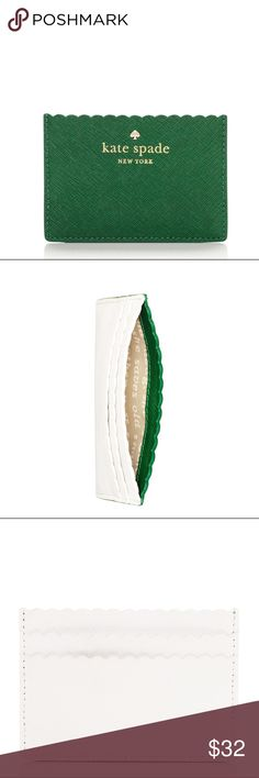 Kate Spade Lily Avenue Card Holder Scalloped card holder. Green on one side, white on the other. Very cute!! kate spade Bags Wallets