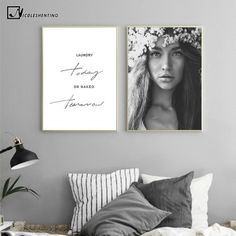 Nordic Style Motivational Poster Girl Black White Canvas Print Minimalist Wall Art Painting Decorative Picture Home Decor-in Painting & Calligraphy from Home & Garden Black And White Canvas, Black And White Design, Black White, Canvas Poster, Canvas Wall Art, Canvas Prints, Girl Posters, Room Posters, Images Murales