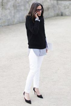 Slim white denim feels so Carolyn-Bessette-Kennedy-polished. Click through to shop the look.