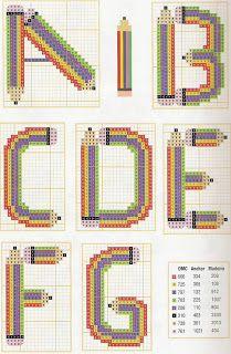 Pencil Alphabet pattern A-G