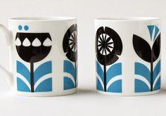 biro robot ceramics mugs cups flower scandinavian swedish scandi