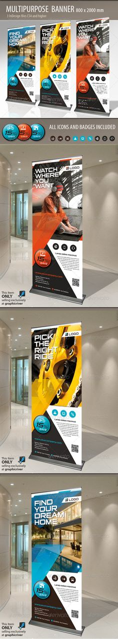 Buy Multipurpose Banner by MrTemplater on GraphicRiver. Modern and elegant design for banner/rollup. Perfect for manufacturers and sallers and business promotion. Rollup Banner, Web Banner, Banner Template, Flyer Template, Banners, Signage Design, Brochure Design, Flyer Design, Layout Design