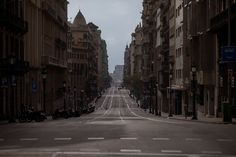 A view of Via Laietana street as authorities control public movements over a coronavirus outbreak in Barcelona, Spain Trafalgar Square, Wuhan, Bilbao, Pamplona, Countries Around The World, Around The Worlds, Glasgow, Ponte Do Brooklyn, Bts For You
