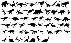 Dinosaurs Silhouettes- I needed this 6 months ago! Cartoon Silhouette, Dinosaur Silhouette, Silhouette Vector, Silhouette Cameo, Body Art Tattoos, Cool Tattoos, Tasteful Tattoos, Girly Tattoos, Finger Tattoos