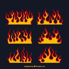 Assortment of flat flames with different designs Vector Painted Jeans, Painted Clothes, Diy Clothing, Custom Clothes, Flame Art, Denim Art, Diy Fashion, Art Drawings, Sketches