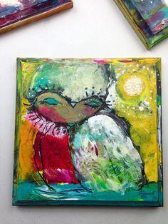 "It's Time To Let Go - an Original Mixed Media Painting 7x7"" on Wood by Juliette Crane #juliettecrane #owl"