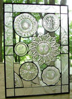 """""""Antique dishes set in glass - have never seen this before what a great idea!"""""""