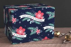 Festive Floral by Hooray Creative at minted.com-personalized wrapping paper for Christmas.