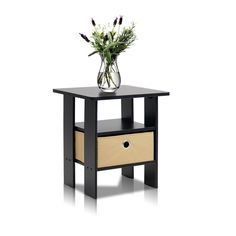 Furinno End Table Bedroom Night Stand w/Bin Drawer, Espresso/Brown 11157EX/BR #Furinno