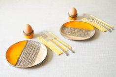 Breakfast Set Set for 2 Ceramic Dish Set Breakfast by bemika