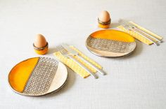 Breakfast Set, Set for 2, Ceramic Dish Set, Breakfast Serving, Housewares, Ceramics and Pottery, Set - 4 pieces