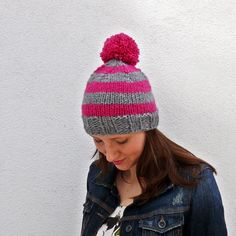 Pom Pom knit Winter Hat pink and grey stripes. $40.00, via Etsy.