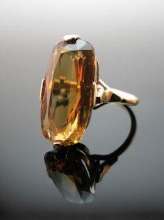 STRIKING VINTAGE 9CT GOLD NATURAL CITRINE DRESS RING SIZE US 6, UK L 1/2, 3.8G