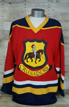 e2d38bb93 Crusaders Red Hockey Jersey Athletic Knit Sz XXL Superstar Mesh   AthleticKnit  ClevelandCrusaders