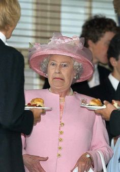 Queen Elizabeth - just added up the calorie intake from two lots of scones and cream!