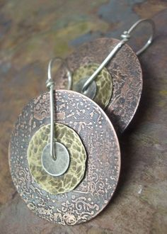 New Year Gongs, Copper, Brass, and Silver Earrings,  1.5 inch version, ThePurpleLilyDesigns