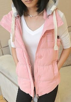 Pink Zipper Collar With Hat Thick Vest Coat