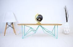 FREE SHIPPING: The Yoshi, Modern Walnut Coffee Table, Geometric steel base, Midcentury Modern, Turquoise by moderncre8ve on Etsy https://www.etsy.com/listing/240930415/free-shipping-the-yoshi-modern-walnut