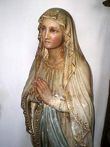 STUNNING-Huge-Antique-French-beautiful-genuine-Religious-Statue-Virgin-Mary-4ft