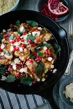 Middle Eastern Rosewater Chicken with Pomegranate and Mint