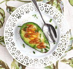 Baked Avocado and Egg with Miso Butter via Jeanette's Healthy Living #breakfast #avocado