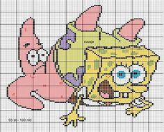 Spongebob and Patric Cross Stitch Bookmarks, Cross Stitch Embroidery, Cross Stitch Patterns, Spongebob Friends, Pixel Art Templates, Stitch Cartoon, Minions, Minecraft Pixel Art, Perler Bead Art