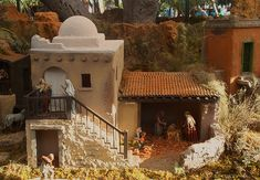 crib making for christmas Nativity Creche, Christmas Nativity Scene, Christmas Crafts, Christmas Decorations, Arched Doors, Arched Windows, Mud House, Ceramic Houses, Construction