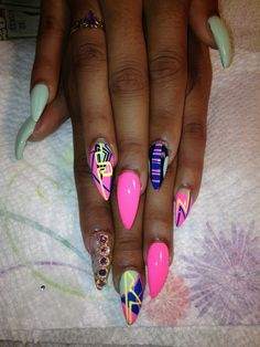 Pink , Green , and Blue Claw Acrylic Nails