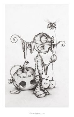 Fantasy and Gothic Art: Tricky Treats! by thePicSees. Fairy Drawings, Fantasy Drawings, Cute Drawings, Drawing Sketches, Drawing Ideas, Sketching, Illustration Art, Illustrations, Theme Tattoo