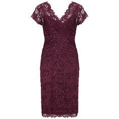 Gina Bacconi Beaded Lace Dress, Wine