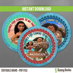 Disney Moana Favor Tags - Instant Download - Print and Edit at home with Adobe Reader - Moana Birthday - Moana Party