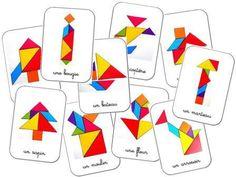 Models for Tangram game to print: nursery ms gs cycle 3 cycle 2 Montessori Math, Preschool Math, Math Classroom, Kindergarten Math, Teaching Math, Activities For Kids, Cycle 3, Tangram Puzzles, Math Patterns