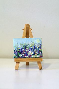 Miniature painting, original paintings on canvas, small canvas art hand painted, tiny art tiny paintings easel, mini canvas painting flowers Small Canvas Paintings, Small Canvas Art, Mini Canvas Art, Small Paintings, Acrylic Painting Canvas, Original Paintings, Art Mini Toile, Flower Canvas Art, Artwork
