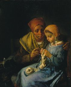 Jean-François Millet - The Knitting Lesson. Millet was a French artist Jean Francois Millet, Illustrations, Illustration Art, Barbizon School, Farm Paintings, Millet Paintings, Knitting Humor, Knit Art, Art Du Fil
