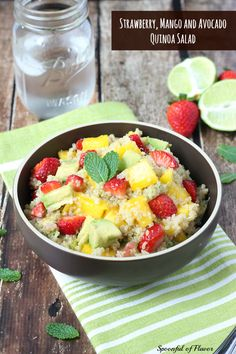 Strawberry, Mango and Avocado Quinoa Salad - a sweet, easy and healthy dish packed with fruit and protein! #healthy #quinoa #vegan