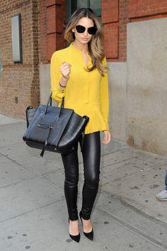 yellow top + black leggings + celine bag