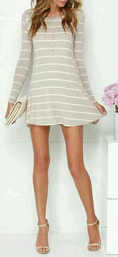 7cf1dbc4ab55 love a good cotton dress Swing Along Ivory and Taupe Striped Long Sleeve  Dress
