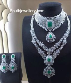 Diamond Necklaces : Bridal Diamond Emerald Necklace Set - Buy Me Diamond Diamond Necklace Set, Emerald Necklace, Diamond Jewellery, Jewellery Box, Peacock Necklace, Jewellery Exhibition, Emerald Jewelry, Jewellery Shops, Pearl Necklace
