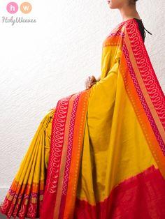 Yellow Handwoven Katan Silk Pochampally Saree - HolyWeaves