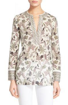Tory Burch Botanical Print Cotton Tunic