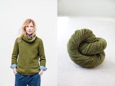 """Keaton woven-stitch turtle neck with bell sleeve by Julie Hoover. Shown in color """"Tent"""". From Brooklyn Tweed's """"Winter15"""" Collection. Photographed by Jared Flood. #btwinter15 #brooklyntweed #madeinUSA #shelteryarn #loftyarn #keaton #pullover"""