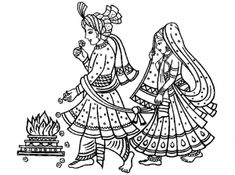 adult mariage indien coloring pages printable and coloring book to print for free. Find more coloring pages online for kids and adults of adult mariage indien coloring pages to print. Wedding Symbols, Hindu Wedding Cards, Wedding Logos, Wedding Art, Embroidery Motifs, Hand Embroidery Designs, Wedding Drawing, Bird Template, Bollywood