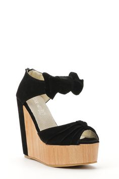 Ladies Girls wood Effect Bow Detail Faux Suede Platform Wedge Shoes. Size 4