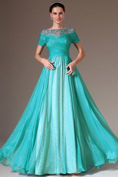 Teal Floor-Length Scoop A-Line Elastic Woven Satin Short Sleeves Evening Dress