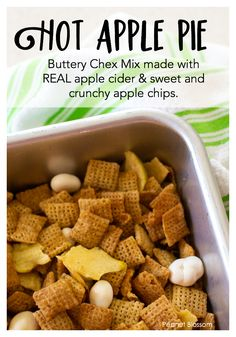 This sweet Chex Mix recipe tastes just like grandma's hot apple pie! Cinnamon Chex is mixed with a butter sauce flavored with pie spices and real apple cider. Tossed with dried sweet apple chips and yogurt covered raisins Chex Mix Recipes, Snack Recipes, Yogurt Covered Raisins, Apple Chips, Cinnamon Recipes, Apple Cider, Thanksgiving, Kids Meals, Healthy Snacks