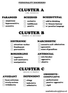 personality disorders - I still have trouble with these and think they need to be taken with an acknowledgement that this paradigm is just that. However, that is not to say personality disorders don't exist. Mental Health Nursing, Mental Health Counseling, Mental Health Awareness, Counseling Degree, Social Work Exam, Psychiatric Nursing, Therapy Tools, Mental Disorders, Mental Illness
