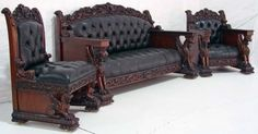 Custom Made Horner style Wing Griffin Parlor Set Made from solid mahogany wood, with great detail carvings. Western Furniture, Victorian Furniture, Unique Furniture, Vintage Furniture, Victorian Dollhouse, Manly Living Room, Dark Home Decor, Antique Sofa, Bungalow House Design