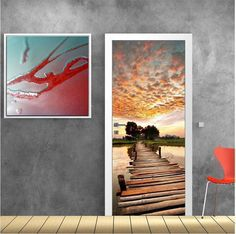 Path to sunset, αυτοκόλλητο πόρτας Deco Stickers, Decoration, Polaroid Film, Painting, Art, Deceit, Eyes, Drawing Rooms, Decor